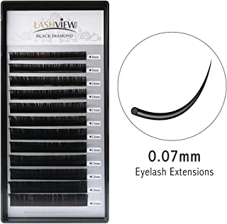 LASHVIEW 0.07 Thickness D Curl Mixed Tray Volume Mink Eyelash Extensions Silk Individual Lash Extensions Semi-permanent Pure Korean Silk lashes Soft Application for Professional Salon Use