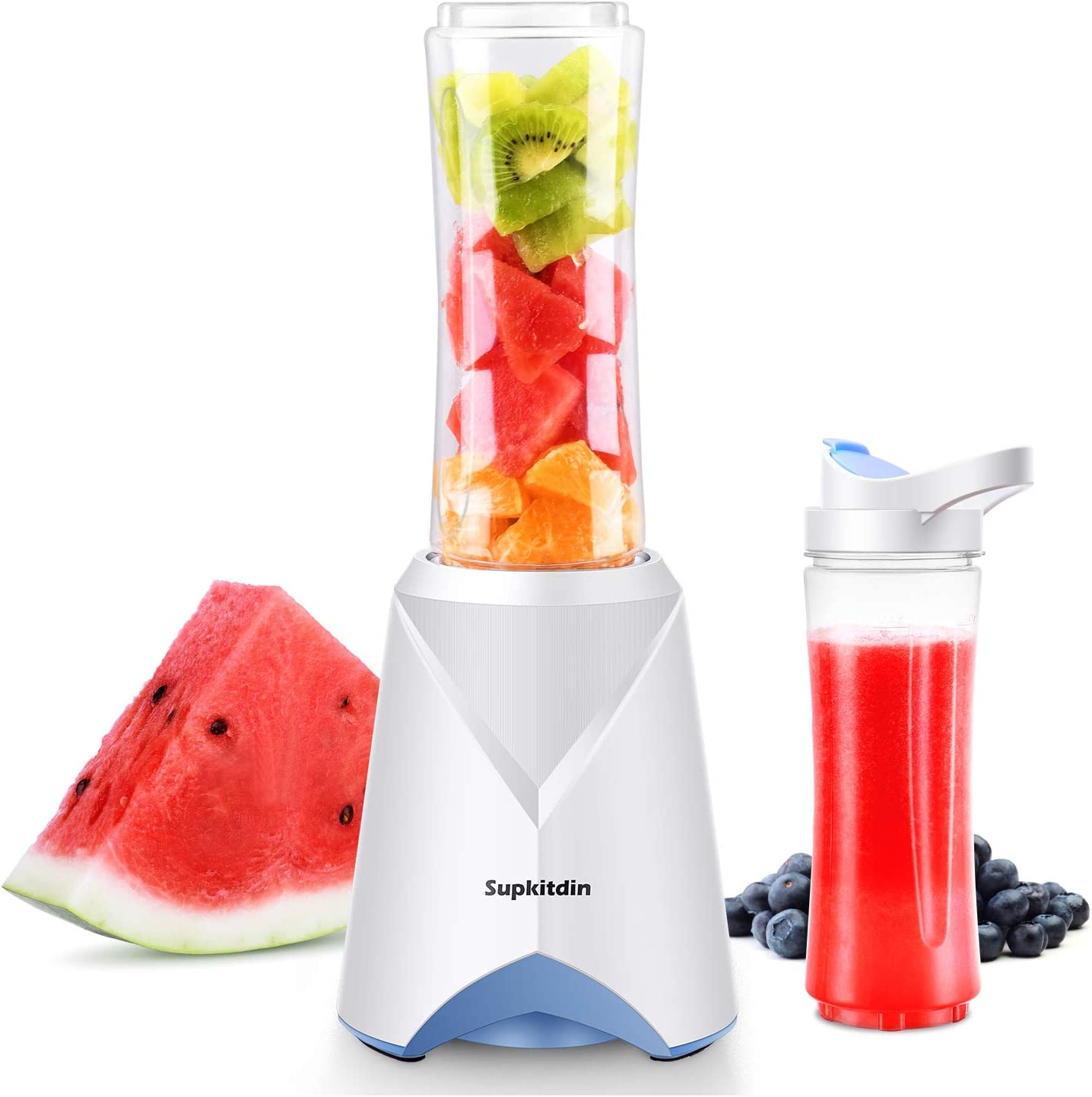 Personal Mini Blender for Shakes and Smoothies, Supkitdin Single Serve Blender for Fruits and Vegetables with 2 * 20oz BPA-Free Travel Sport Bottles