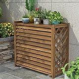 Copri condizionatore esterno in legno massello con supporto per fiori