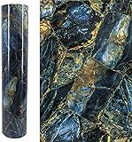 Autoadhesivo Brillante Azul oscuro Mármol Vinilo Película Muebles Etiqueta de papel de pared Papel tapiz Mural para paredes de cocina Backsplash Table Cabinets Decal 40CMX3M