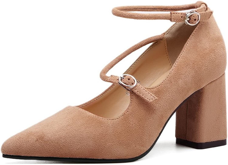 AdeeSu Womens Chunky Heels Pointed-Toe Buckle Suede Pumps shoes