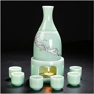 MIRUIKE Celadon Sake Set with Sake Warmer Gift Box Packaging 9 PCS