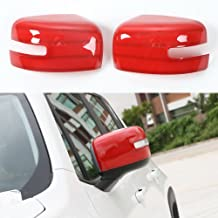 ABS Rearview Side Mirror Cover Trim Frame Sticker For Jeep Renegade 2015 2016 (Red)