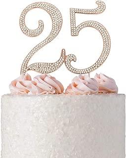 25 ROSE GOLD Cake Topper   Premium Bling Crystal Rhinestone Diamond Gems   25th Birthday or Anniversary Party Decoration Ideas   Quality Metal Alloy   Perfect Keepsake (25 Rose)