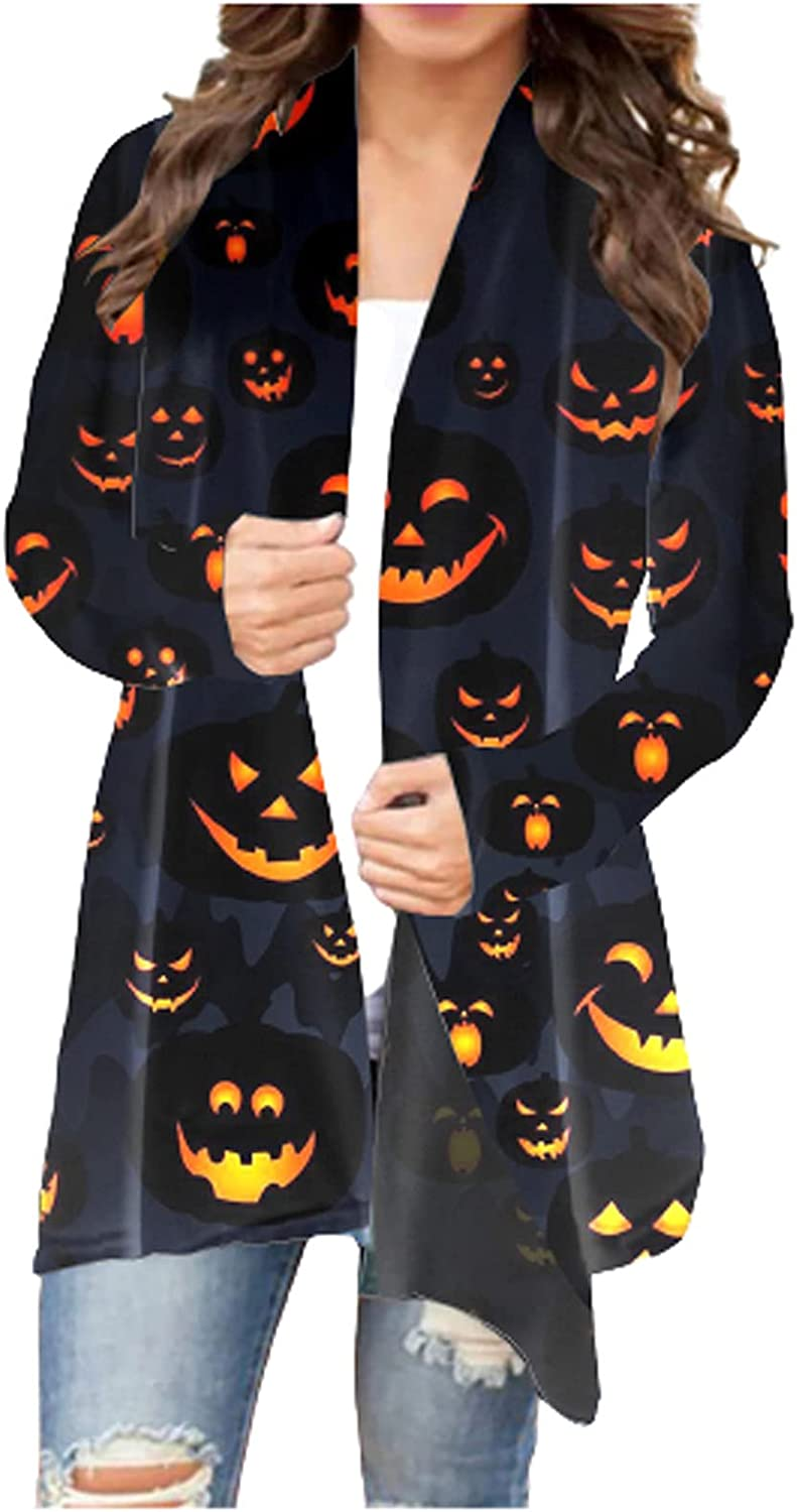 Halloween Women Long Sleeve Open Front Cardigan Pumpkin Print Weird and Funny Cosplay Fashion Knit Coat Blouses Outwear