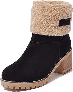 black faux fur trim block heel boots