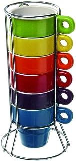 Paxanpax PSA462 Lot de 6 tasses à café expresso en céramique avec support
