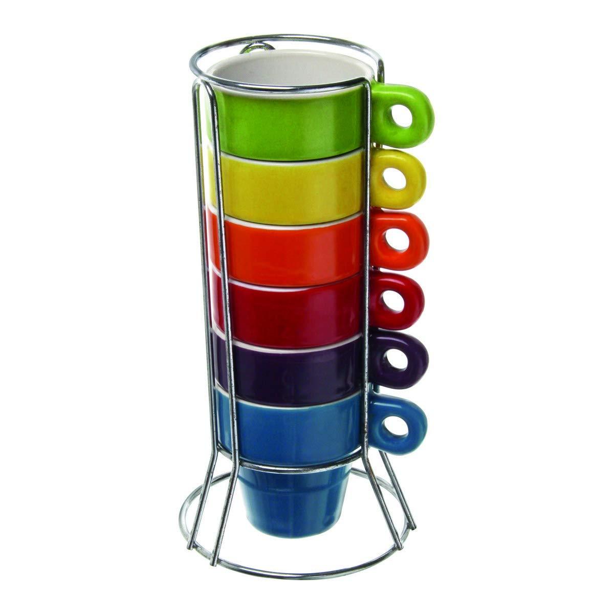 Paxanpax PSA462_02 - Juego de 6 tazas y soporte de cerámica para cafetera Nespresso: Amazon.es: Hogar