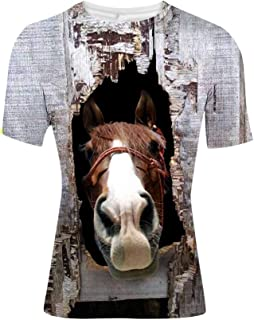 HUGS IDEA 3D Horse Print Men's Short Sleeve Fashion T Shirt Tops