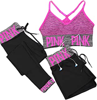 XFKLJ Sports Bra Yoga Pants Seamless Yoga Set Women Sport Suit Letter Sportswear for Women Fitness Push Up Bra+Gym Short F...
