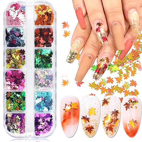 BFY Fall Nail Art Stickers Decals Fall Glitter Maple Laef Laser Nail Autumn Nail Art Sequins Nails Art Supplies Manicure Tips Accessories 12 Colors Gradient Maple Leaf Acrylic Nail Art Supplies