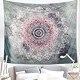 Dremisland Grau und Rosa Lotus Tapisserie wandteppich indisch Mandala Hippie Bohemien Orientalisch wandtuch wandbehang Blume Wand Dekoration Tapestry (Muster 2, M/153x130cm(60x52inch))