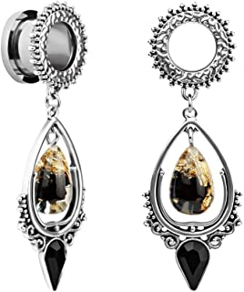 Stainless Steel Teardrop Black Obsidian Stone Large Dangle Bridal Plug Ear Gauges Stretching Tapers Screw Fit Tunnels