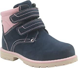 Apakowa Toddler Little Girls Hook and Loop Outdoor Genuine Leather Ankle Boots