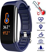 YINXN Fitness Tracker with Body Temperature Detection, Sleep Monitor Heart Rate Blood Oxygen IP67 Waterproof Smart Watch, Step Counter Bracelet Calorie Sports Bracelet, for iOS Android