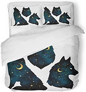 Tarolo Bedding Duvet Cover Set Blue Animal of Wolf Silhouettes Crescent Moon and Stars Tattoo Pagan Totem Wiccan Familiar Spirit Boho 3 Piece Twin 68
