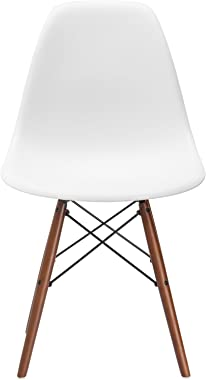 Poly and Bark Vortex Modern Mid-Century Side Chair with Wooden Walnut Legs for Kitchen, Living Room and Dining Room, White (S