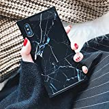 Chic Black White Marble Case for iPhone Xs X 10 Retro Classic Stylish Cover for iPhone 8 7 Plus 8plus Square Shockproof Strong Protective Back Casing (iPhone X/XS, Black)