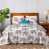 Hansleep Quilt Set with Modern Elephant Style Stitching Pattern, Comforter Bedding Cover Lightweight Bedspread Bed Decor Coverlet Set for All Season (Elephant, King)