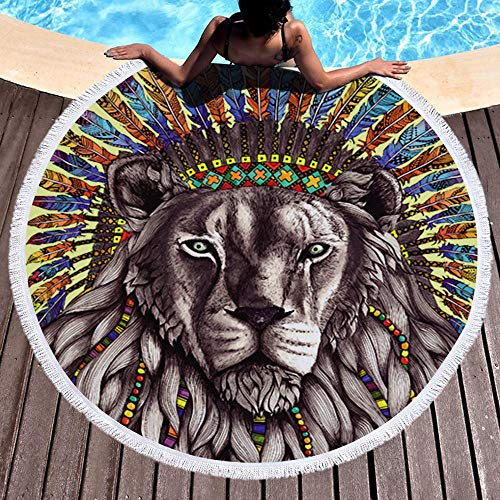AMZJIEFU Toalla de Playa Redonda para Adultos con Estampado de Lobo, Toalla de baño de Borla de Microfibra Impresa, Manta Blanca y Negra