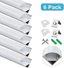 Perfil de aluminio LED WAI GOU, aluminio, Forma V, paquete de 6., N-V02
