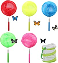 Haploon 5 Pack Colored Kids Telescopic Butterfly Nets Bug Insect Catcher Net with Insect Mesh Cage, Fishing Net Great for Kids Playing, Extendable from 19