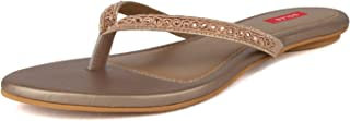 SOLES Women Espadrille Bronze Party Thong Slip-On Flats
