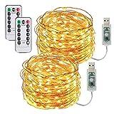 2 Pezzi Stringa Luci LED USB-10M/33FT Catene Luminose 100LED Luci Natalizie Impermeabile Decorative per Camere da Letto Giardino Casa Feste Matrimoni,Esterno/Interni Lucine (Bianco Caldo)