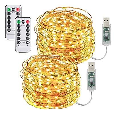 🌟 USB Plug-in --- El diseño del zócalo USB lo libera del reemplazo de la batería sin problemas. Puede usar el banco de energía, la computadora, el cargador de pared y el cargador de automóvil para suministrar estas luces de hadas 🌟Luces de alambre de...