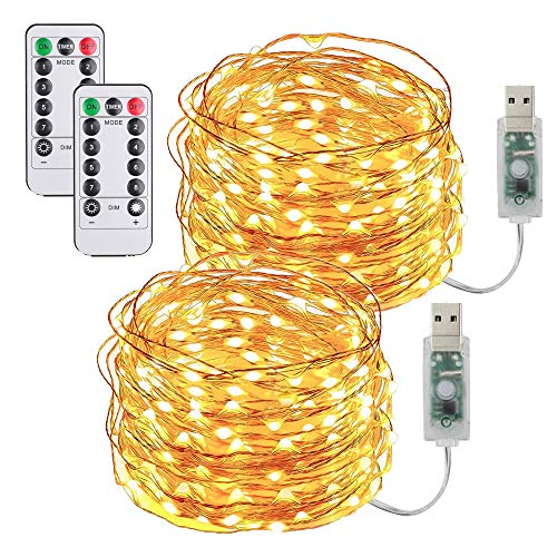 [2 Pack] Guirnaldas Luces Interior,10m 100 LED de Guirnalda Luces con Control Remoto & Enchufe USB,8 Modos Cadena de Luces de Impermeable IP65 para Navidad,Casa,Terraza, Fiestas, Bodas, Fe