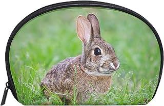 ALAZA Rabbit Half Moon Cosmetic Makeup Toiletry Bag Pouch Travel Handy Purse Organizer Bag for Women Girls