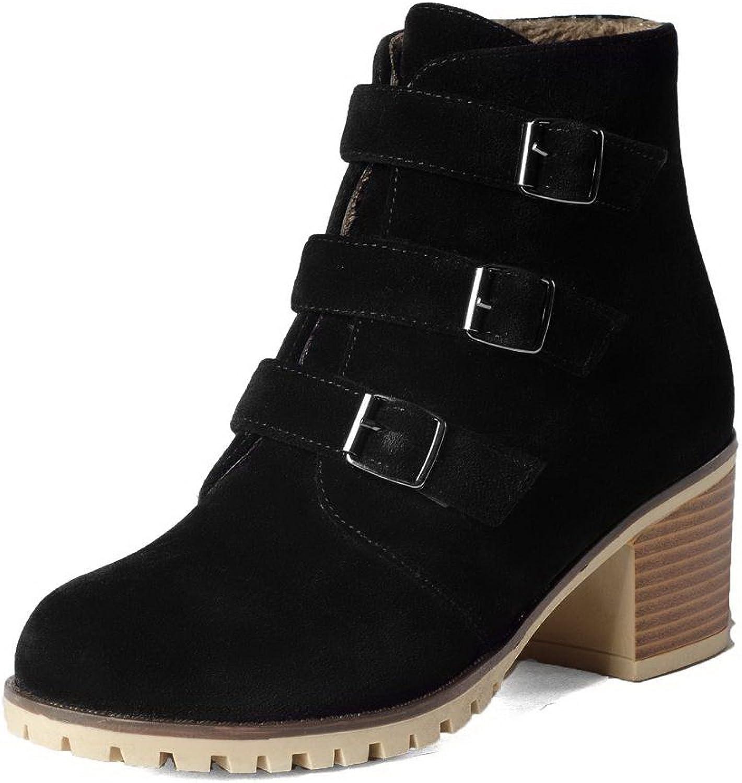 AllhqFashion Women's Low-top Solid Zipper Closed Round Toe Kitten-Heels Boots