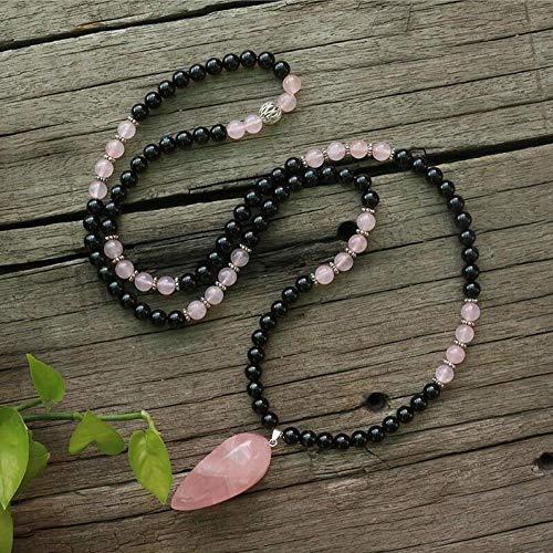 HMANE 8mm Natural Stone Beads Negro ónix Rosa Cuarzo Esperanza Amor Japamala Joyería Espiritual Meditación Inspiradora 108 Mala Abalorio