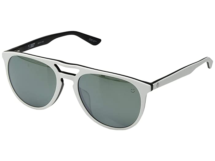 Spy Optic Syndicate (Matte White/Black/Happy Gray Green/Silver Spectra Mirror) Athletic Performance Sport Sunglasses