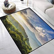 Nature Kitchen Area Rugs 6x9 ft Rising Sun Clouds Over Forest Hill Woodland Idyllic Countryside View Gym Floor Mats