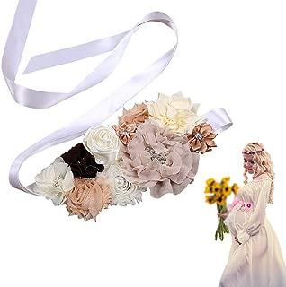 Zaptex Flower Belt Maternity Pregnancy Bridal Sash for Baby Shower Wedding Party Dress Accessories
