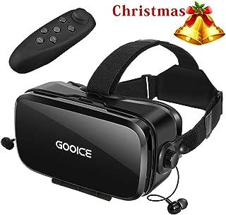 Gooice VRゴーグル「2020改進版」Bluetoothリモコン付属 VRヘッドセット イヤホン 3D動画 ゲーム 映画 映像 効果 4.7~6.2インチ iPhone android などのスマホ対応
