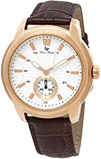 Lucien Piccard Men's 'Duval' Quartz Stainless Steel and Leather  Watch, Color:Brown (Model: LP-40032-RG-02S-BRW)