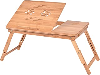 Costway Bamboo Adjustable Portable Laptop Desk, Foldable Breakfast Table Serving Bed Tray with Tilting Top Drawer