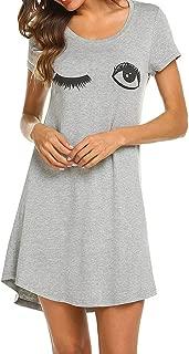 MISYAA Pajamas Dresses for Women, Cat Face Animal Print Pullover Casual Mini Dress Soft Sleepwear Long T-Shirt