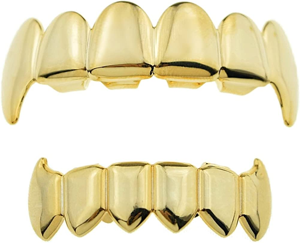 14k Gold Plated Full Fangs Grillz Top And Bottom Hip Hop Fang Set Vampire Teeth