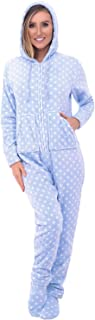 Women's Warm Fleece One Piece Footed Pajamas, Adult Onesie with Hood