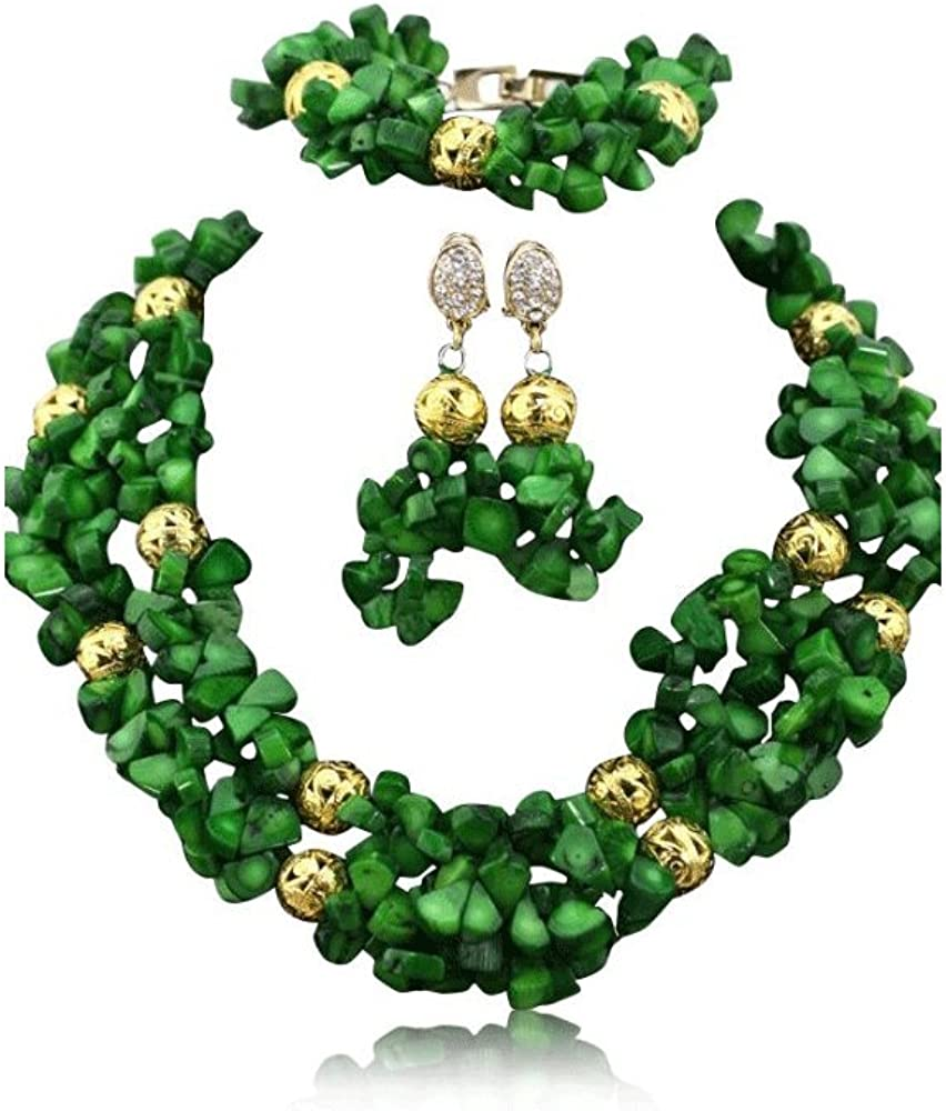 Africanbeads Green Nigerian Wedding African Beads Jewelry Set Coral for Women Birthday Gift