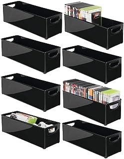 mDesign rangement DVD empilable avec poignée (lot de 8) – caisse de rangement pour DVD, CD et jeux vidéo avec poignée – ra...
