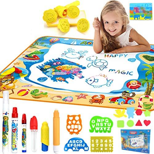 GQFGYYL-QD Agua Dibujo Pintura, Alfombra de Agua Doodle Portátil, Juguetes de Rompecabezas Educativos Preescolares, Regalos para Niños y Niñas de 2 3 4 5 6 Años