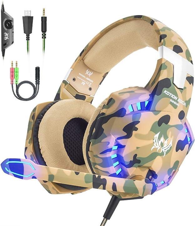 Cuffie da gioco per ps4 cuffie gaming con microfono, fascia regolabile, bass overear jack da 3,5 mm, luce led BX022C