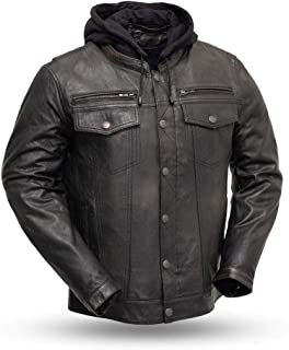 First Mfg Co Vendetta Men's Leather Motorcycle Jacket (Black Olive, X-Large)