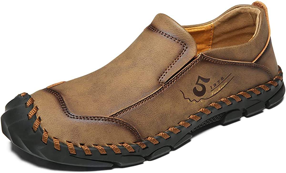 Mens Slip on Loafer Oxfords Shoes Leather Casual Loafers Breathable Driving Shoes Summer Shoes Fashion Non Slip Shoes for Men Hiking Work Shoes Slipper Shoes for Men