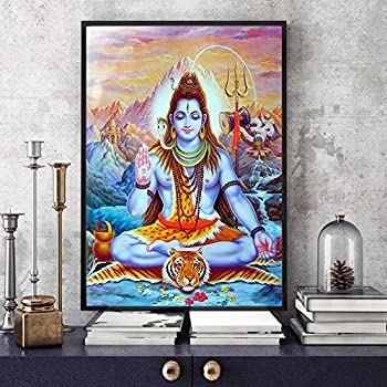 KONGZIR Hindu Gods Shiva Lord Decorative Painting Wall Art Decor Poster Canvas Painting Home Decor Modern Decoration Family Picture