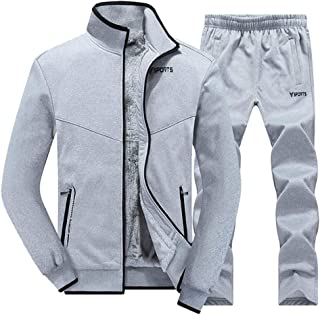 Maweisong Men's 2 Pieces Athletic Full Zip Sports Jacket Pants Active Sweat Tracksuit Set